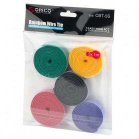 1M 5pcs Organisateur de câbles réutilisable et séparable Crochet et boucle Attache de câble (CBT-5S)