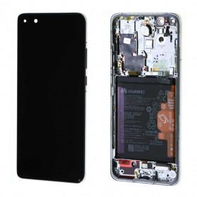 Écran Huawei P40 Pro Argent Sur Châssis + Batterie (Service Pack)