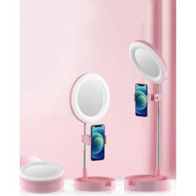 Anneau lumineux pliable Selfie avec trépied et miroir - Rose