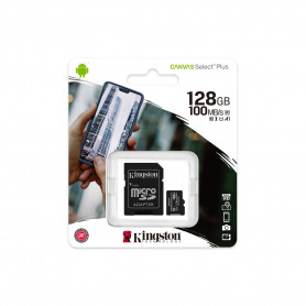 Carte Mémoire Kingston Canvas Select Plus 128GB - Micro SDHC + Adaptateur SD (Origine)