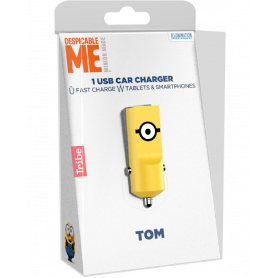 Chargeur Allume-Cigare Tribe 5V-2.4A Minions Tom - Jaune
