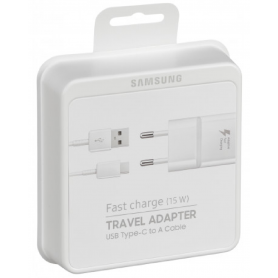 Kit Chargeur USB vers Cable Type-C Samsung EP-TA20EWE 15W Fast Charge- Blanc - Retail Box - Origine