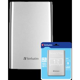 Disque Dur Portable Verbatine 53071 - Externet - 1T - USB 3.0 - Argent