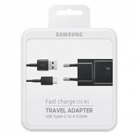 Kit Chargeur USB vers Cable Type-C Samsung EP-TA20EBE 15W Fast Charge- Noir - Retail Box - Origine