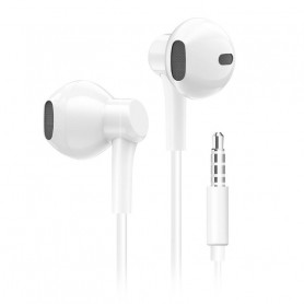 Ecouteurs Jack 3.5mm avec Micro Contrôle du Volume - Blanc