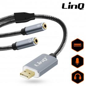 Adaptateur Audio USB Mâle / 2 Jack 3.5mm Femelles Nylon Tressé 30cm LinQ U3532