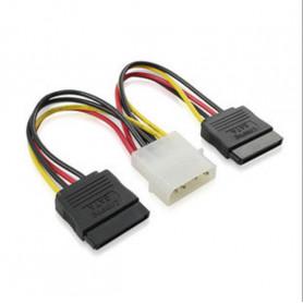 Adaptateur d'alimentation 4 pin Mâle / 2 * 15 Pin SATA coudé Femelles