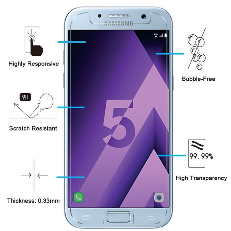 Film de Verre Trempé HD - SAMSUNG Galaxy A3 A5 2016 A7 2017 A8 2018