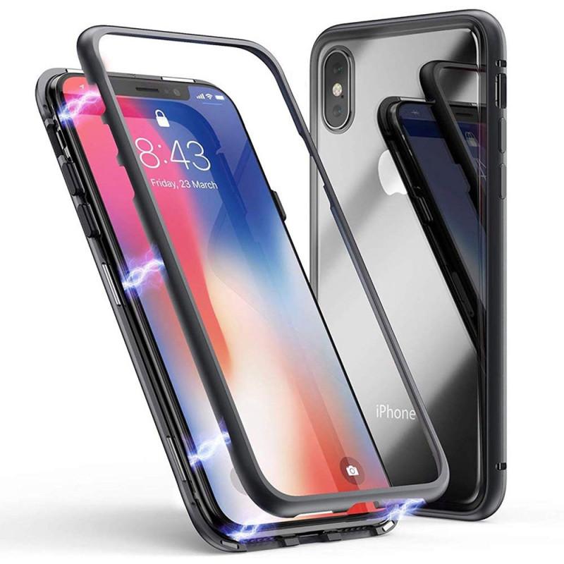Coque Magnétique iPhone 6/7/8/X/XS/XR/MAX Adsorption Magnétique Bumper Métallique et Coque Protection Verre Trempé Transparent