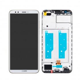 Écran Huawei Y7 2018 Blanc LCD + Vitre Tactile Sur Chassis