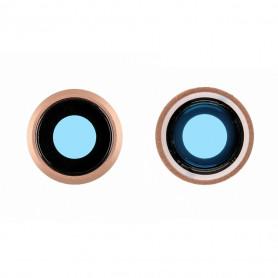 Contour / Vitre cache caméra arrière iPhone 8 Or