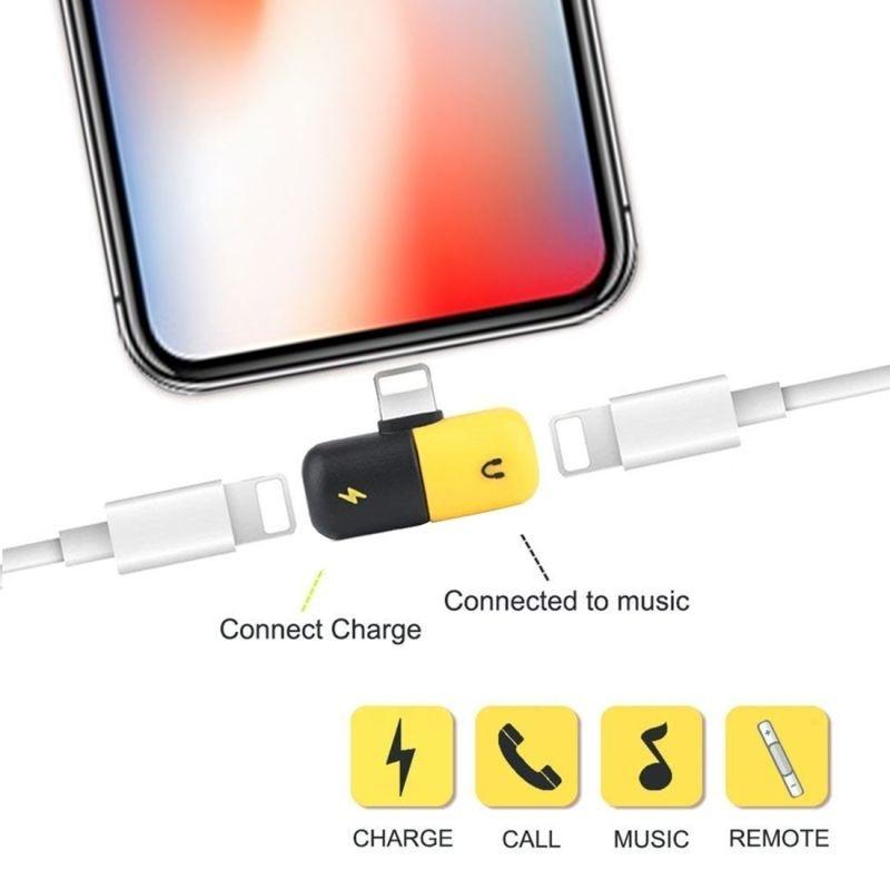 Adaptateur Chargeant et écoutant de la musique pour iPhone 7/8/X/XS/XR