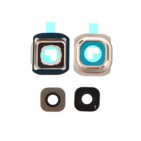 Vitre caméra arrière Samsung Galaxy S6 (G920F) Or Contour + Vitre cache