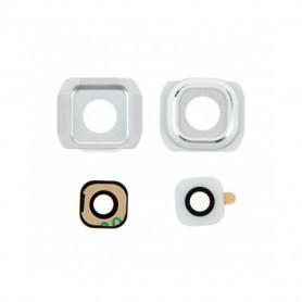 Vitre caméra arrière Samsung Galaxy S6 (G920F) Blanc Contour + Vitre cache