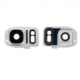 Vitre caméra arrière Samsung Galaxy S7 Edge (G935F) Argent Contour + Vitre cache