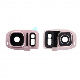 Vitre caméra arrière Samsung Galaxy S7 Edge (G935F) Rose Contour + Vitre cache