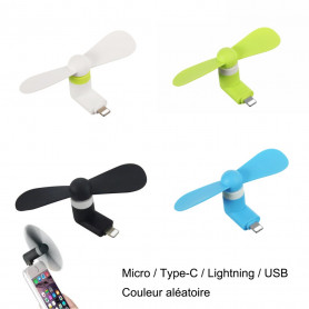 Mini Ventilateur Micro / Type-C / Lightning / USB pour iPhone, Samsung, HUAWEI, Sony, Ordinateur Refroidissement