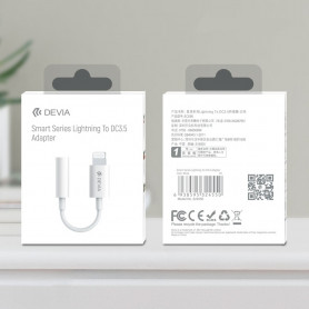 Adaptateur Devia Smart series Lightning Jack 3.5mm Blanc