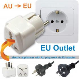 Adaptateur Universel Secteur Voyage USA / JP / AU / UK / Chine vers EU - Prise électrique Avec Terre - Normes CE RoHS