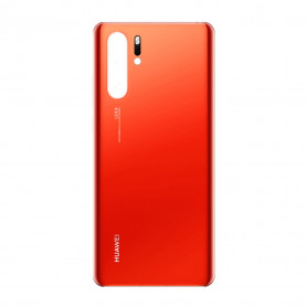 Vitre arrière Huawei P30 Pro Orange - Avec logo + Adhésif