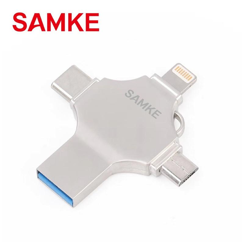 Clé USB 4 en 1 128Go iPhone iPad Extension Mémoire Stick, Flash Drive pour iPhone iOS Android Appareils et Mac PC Ordinateur