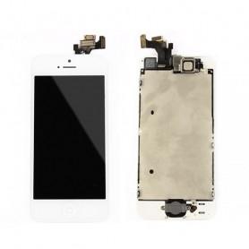 Ecran Complet iPhone 5 Blanc Prémonté avec Caméra avant + Ecouteur Interne + Bouton Home (Prémonté)