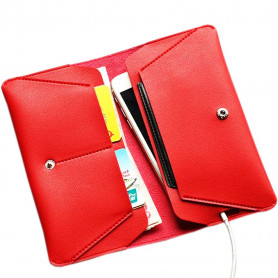 Pochette Rouge PU Leather multifonction Etui