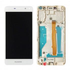 Ecran Complet Huawei Y5 2017/Y6 2017 Blanc Vitre Tactile+LCD Sur Châssis
