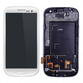 Ecran Samsung Galaxy S3 (i9300) Blanc LCD+Home Sur Chassis (Compatible)