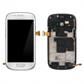 Ecran Samsung Galaxy S3 MIni (i8190) Blanc LCD+Home Sur Chassis (Compatible)
