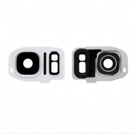 Vitre caméra arrière Samsung Galaxy S7 (G930F) Blanc Contour + Vitre cache